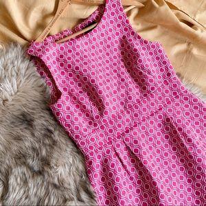 TAHARI Size 6 Pink White Career Dress Formal Midi